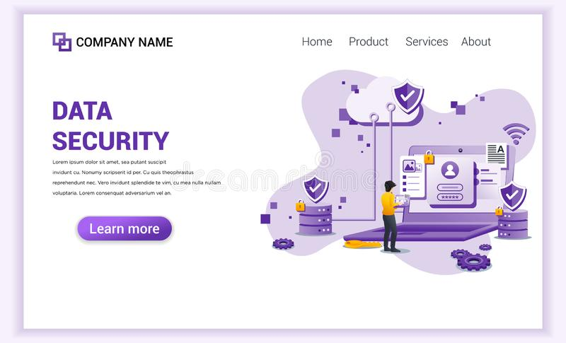 Modern flat design concept of Data Security. A man standing using his laptop on Giant laptop. Can use for analysis, banner, mobile vector illustration