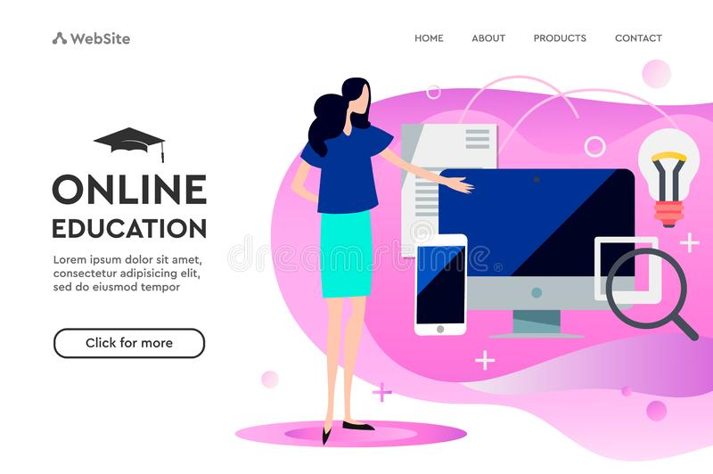 Modern flat design concept of Online Education for website and mobile website. Landing page template. Easy to edit and vector illustration