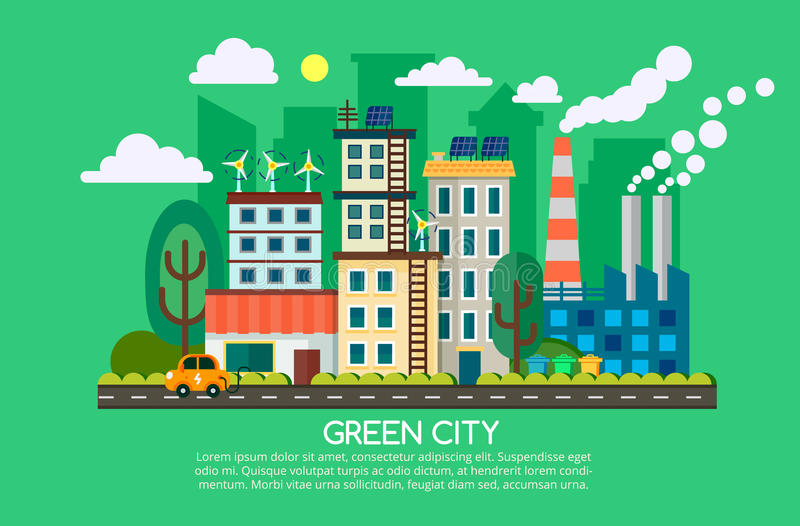 Modern flat design concept of smart green city. Eco friendly city, generation and saving green energy. Vector royalty free illustration