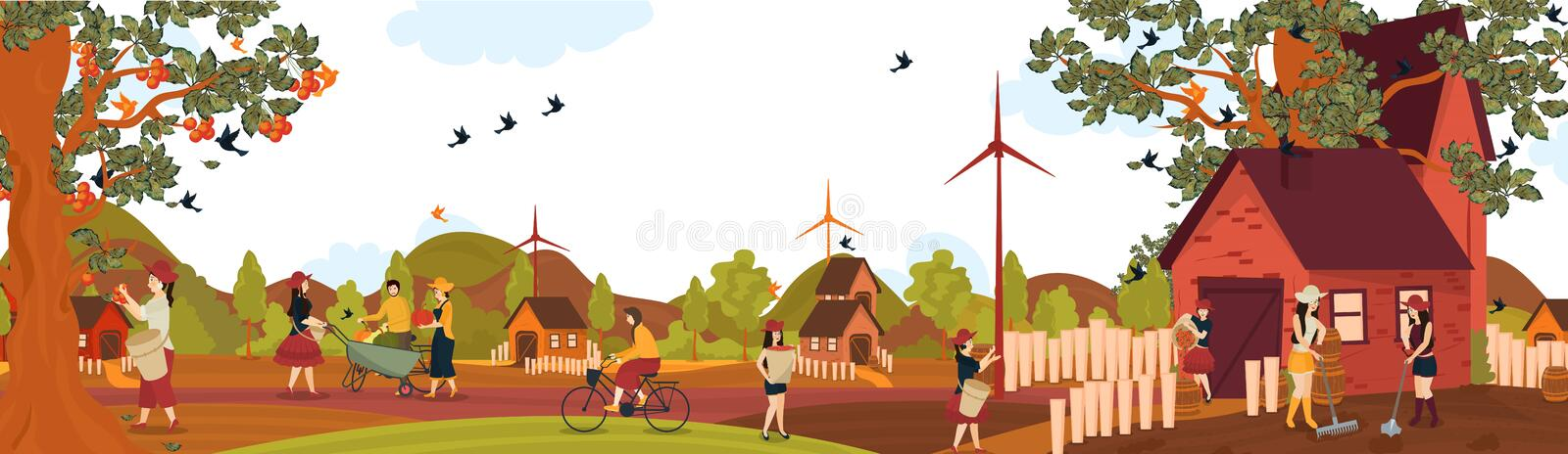 Modern flat design of farming, people working in field on summer. royalty free illustration