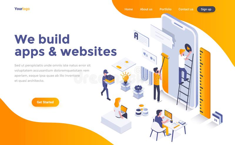 Flat color Modern Isometric Concept Illustration - We build apps. Modern flat design isometric concept of We build apps and websites for website and mobile stock illustration