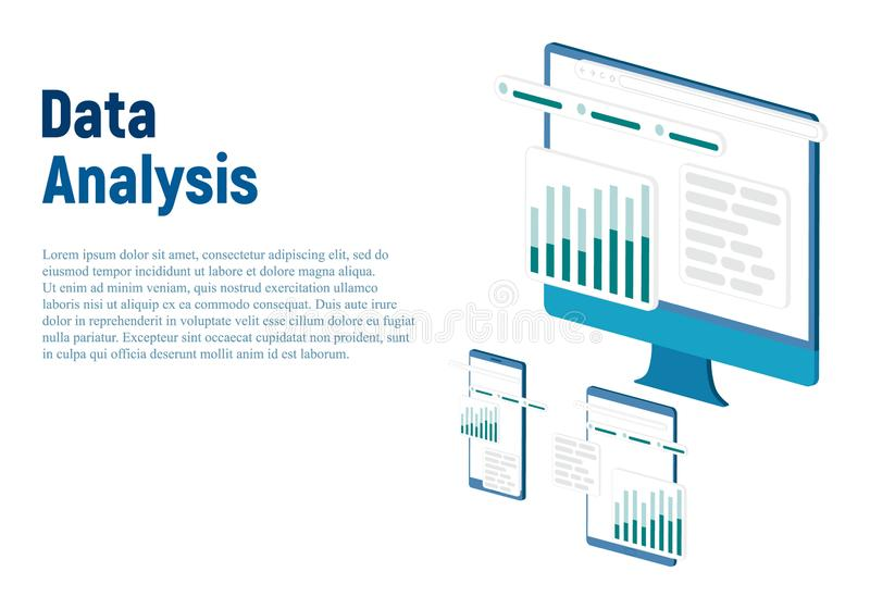 Modern flat design isometric concept of Data Analysis for website and mobile website. Landing page template. Easy to edit and vector illustration