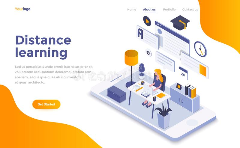 Flat color Modern Isometric Concept Illustration - Distance Lear. Modern flat design isometric concept of Distance Learning for website and mobile website vector illustration