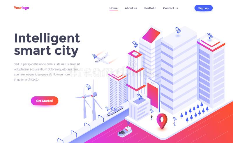 Flat color Modern Isometric Concept Illustration - Intelligent s. Modern flat design isometric concept of Intelligent smart city for website and mobile website stock illustration