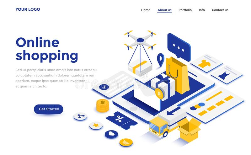 Flat color Modern Isometric Concept Illustration - Online shopping. Modern flat design isometric concept of Online Shopping for website and mobile website vector illustration