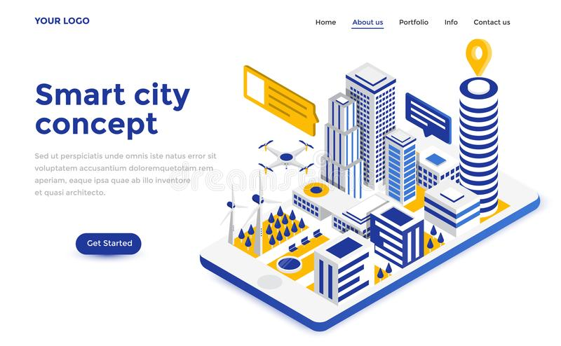 Flat color Modern Isometric Concept Illustration - Smart city stock illustration