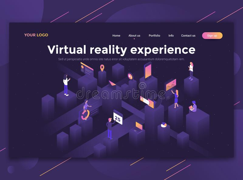 Flat Modern design of website template - Virtual reality experience. Modern flat design isometric concept of Virtual reality experience for website and mobile stock illustration