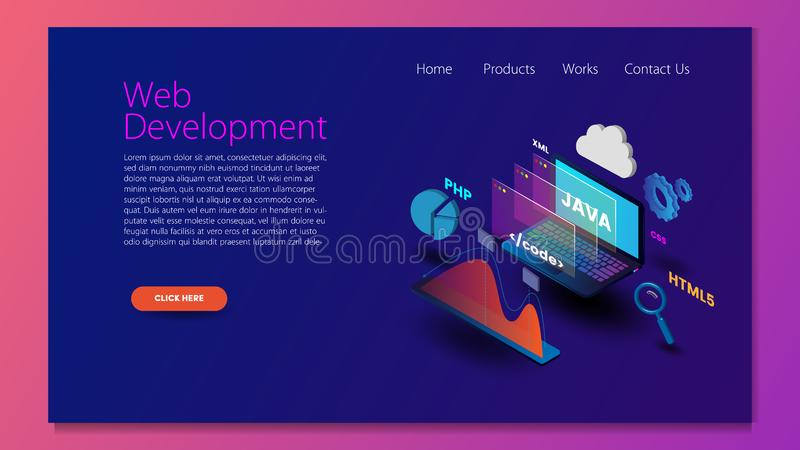 Modern flat design isometric concept of Web Development for website and mobile website. Landing page template. Easy to edit and cu vector illustration
