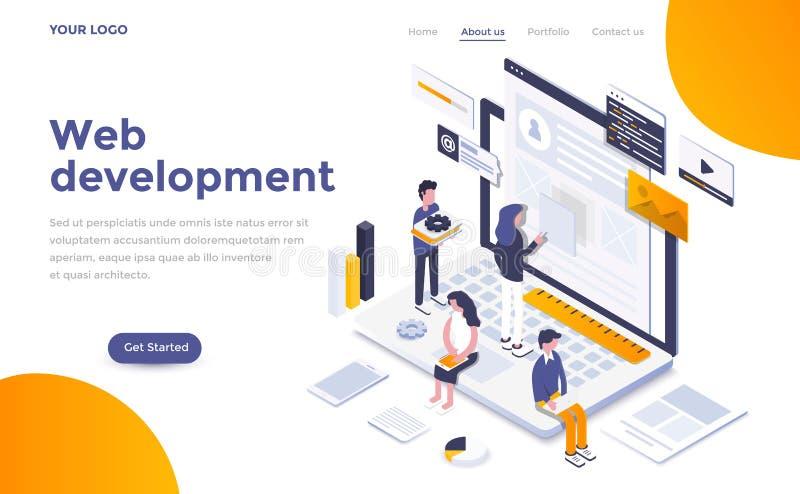 Flat color Modern Isometric Concept Illustration - Web Development royalty free illustration