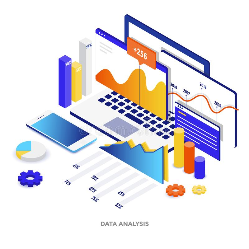 Flat color Modern Isometric Illustration - Data Analysis. Modern flat design isometric illustration of Data Analysis. Can be used for website and mobile website stock illustration
