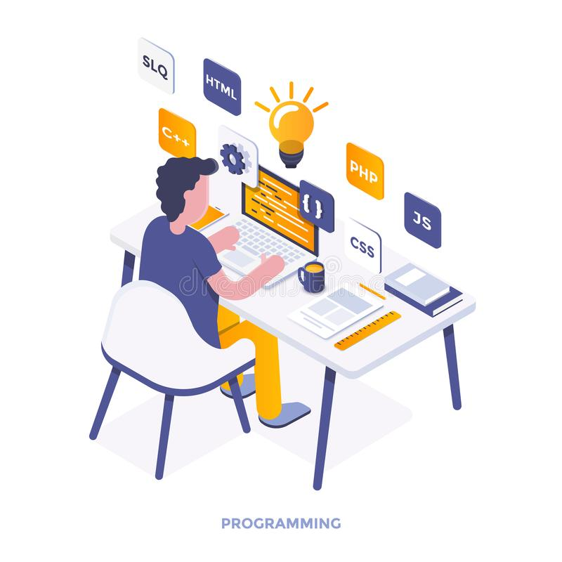 Flat color Modern Isometric Illustration - Programming. Modern flat design isometric illustration of Programming. Can be used for website and mobile website or royalty free illustration