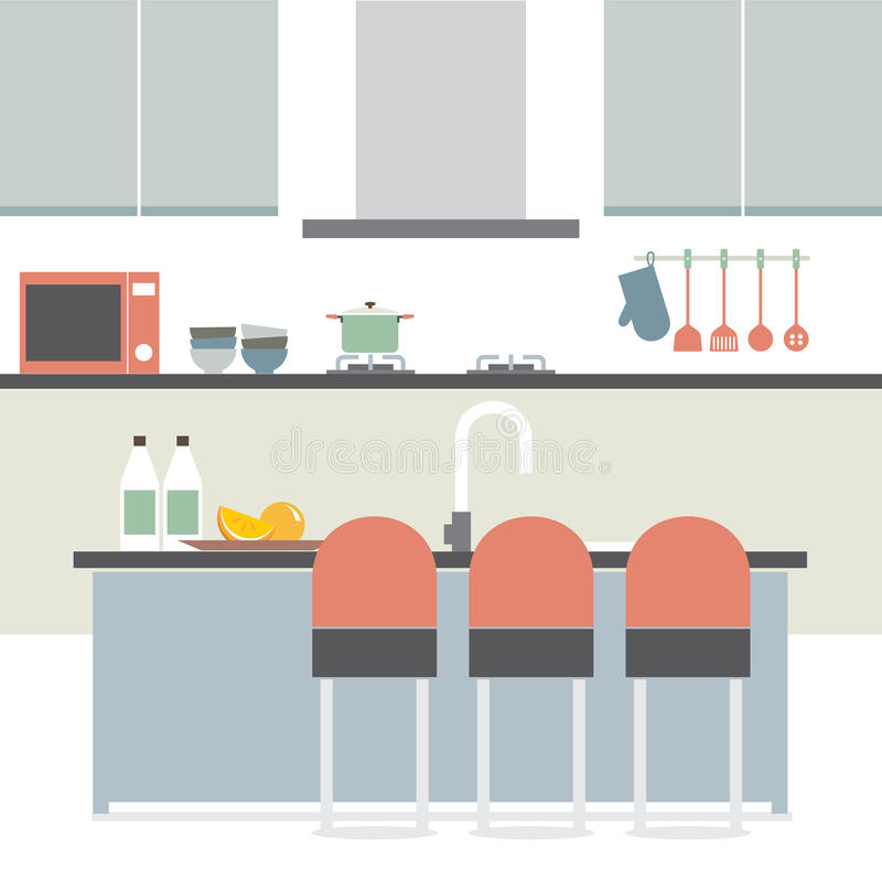Nice Modern Flat Design Kitchen Interior Vector Illustration