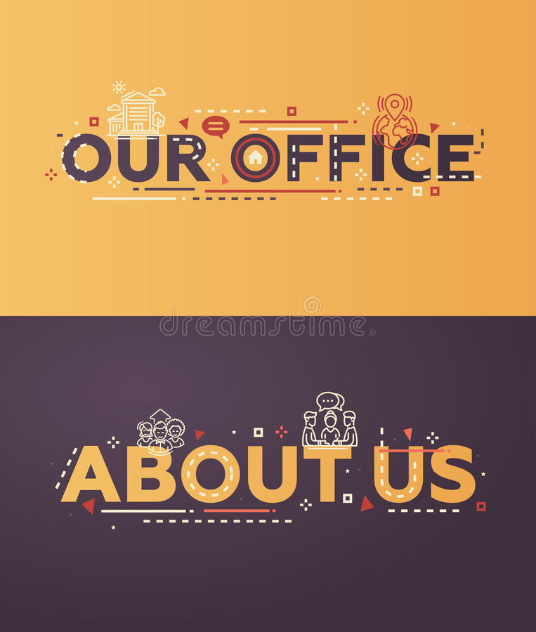Modern flat design Our Office, About Us lettering with icons stock illustration