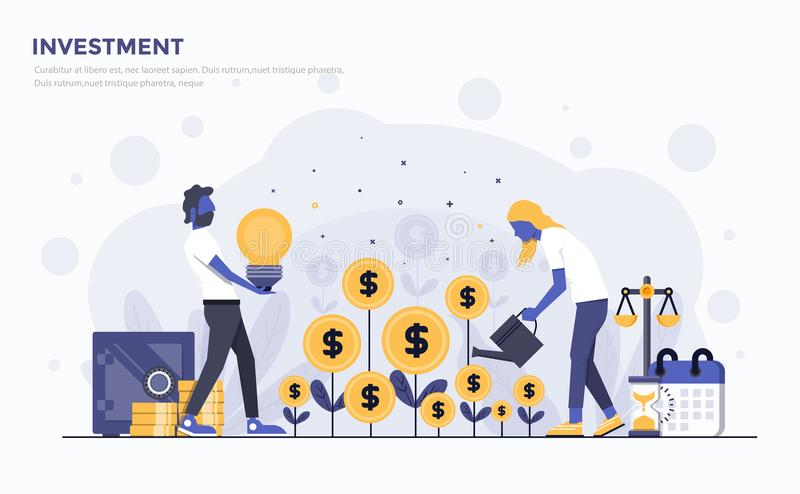 Flat Modern Concept Illustration - Investment. Modern Flat design people and Business concept for Investment, easy to use and highly customizable. Modern vector stock illustration