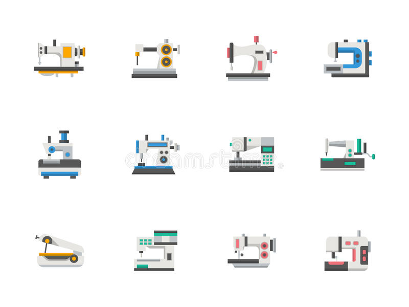 sewing machines flat line icons set stock illustration