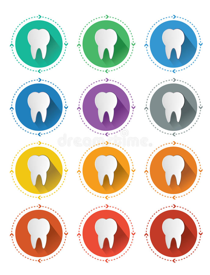 Modern flat design tooth icons set with long shadow effect stock illustration