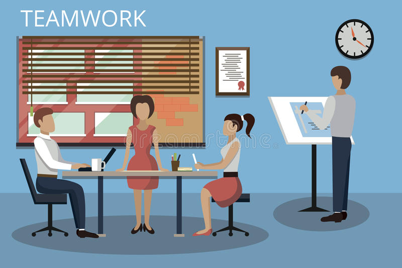 Modern flat design vector illustration, concepts of teamwork process and success in business. For graphic and web design stock illustration