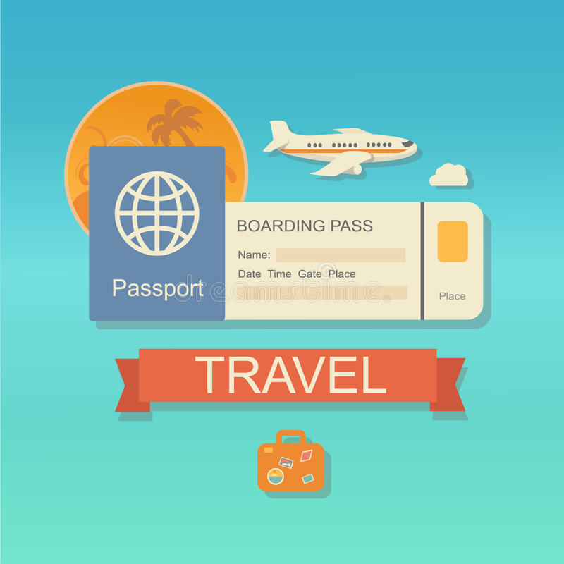 Modern flat design web icon on airline tickets. And travel with jet airliner flying, passport, boarding pass ticket and travelling bag vector illustration