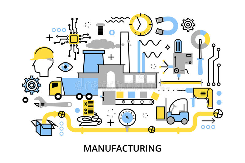 Modern flat editable line design vector illustration, concept of plant and manufacturing process royalty free illustration