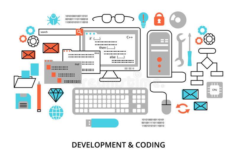 Modern flat editable line design vector illustration, concept of programming, development software and coding process stock illustration