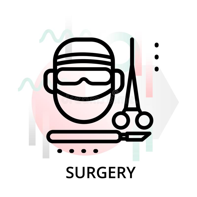 Concept of surgery icon on abstract background. Modern flat editable line design vector illustration, concept of surgery icon on abstract background, for graphic royalty free illustration