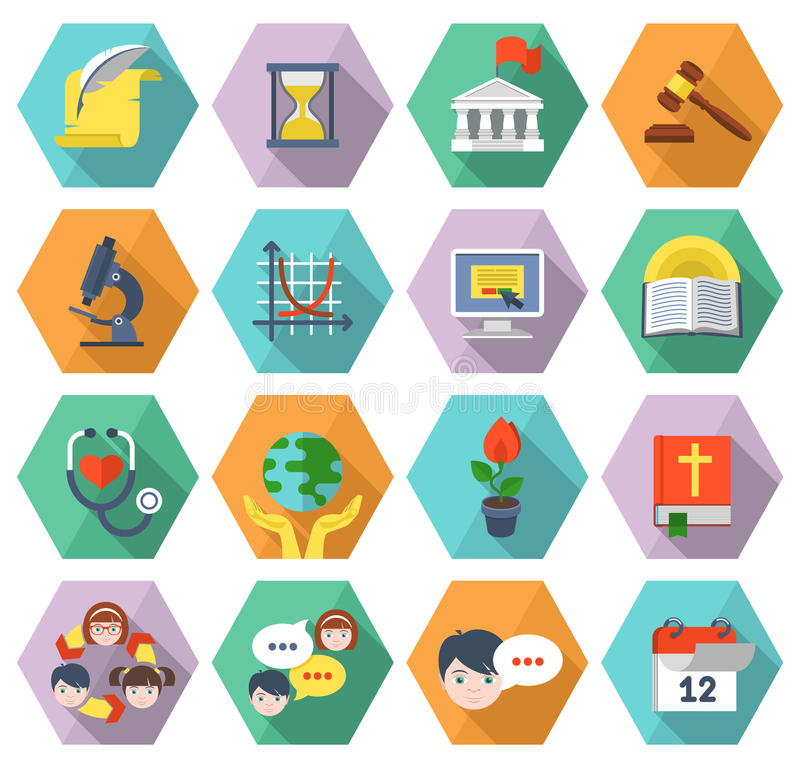 Modern Flat Education Icons in Hexagons vector illustration