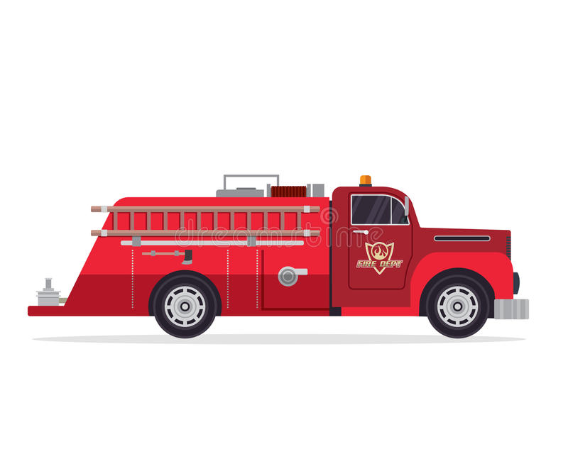 Modern Flat Firefighter Truck Illustration. Flat Firefighter truck illustration, suitable for book, print, game asset, logo, infographic, icon, and other design stock illustration