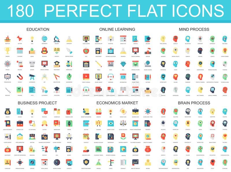 180 modern flat icon set of education, online learning, brain mind process, business project, economics market icons. royalty free illustration