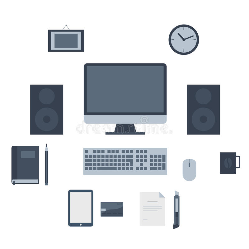 Modern flat icons collection, web design objects, business, finance, office and marketing items. royalty free illustration