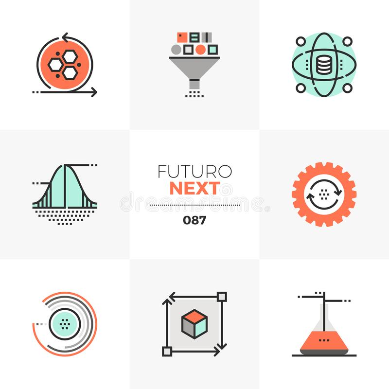 Data Science Futuro Next Icons. Modern flat icons set of data science technology, statistical analysis. Unique color flat graphics elements with stroke lines royalty free illustration