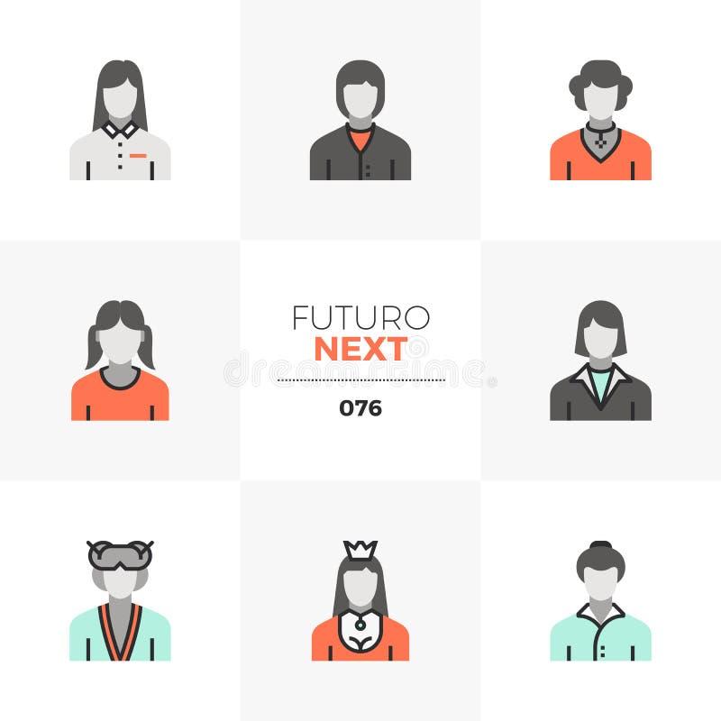 Female Avatars Futuro Next Icons stock illustration