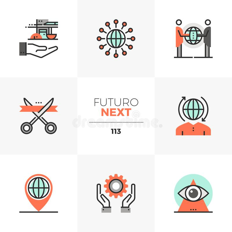 Global Business Futuro Next Icons royalty free illustration