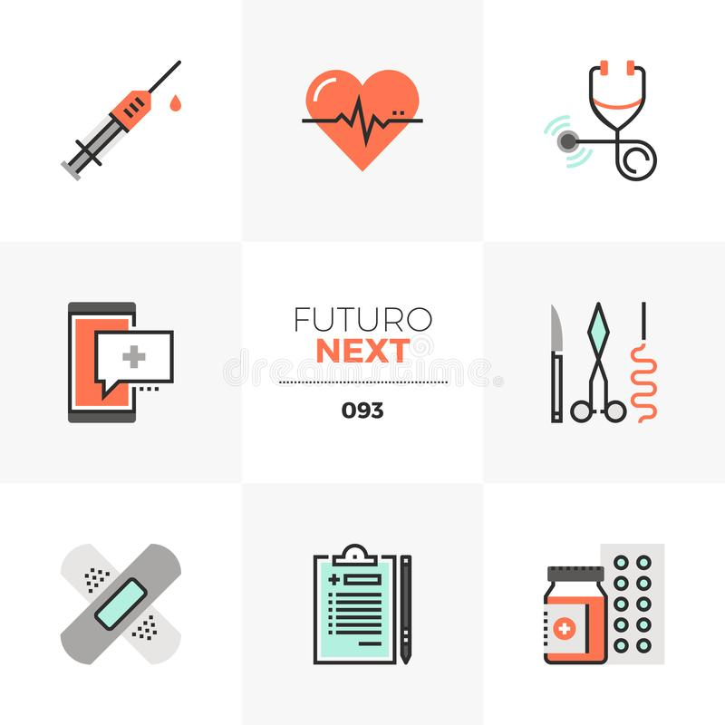 Healthcare Futuro Next Icons. Modern flat icons set of healthcare service, doctor prescription. Unique color flat graphics elements with stroke lines. Premium royalty free illustration