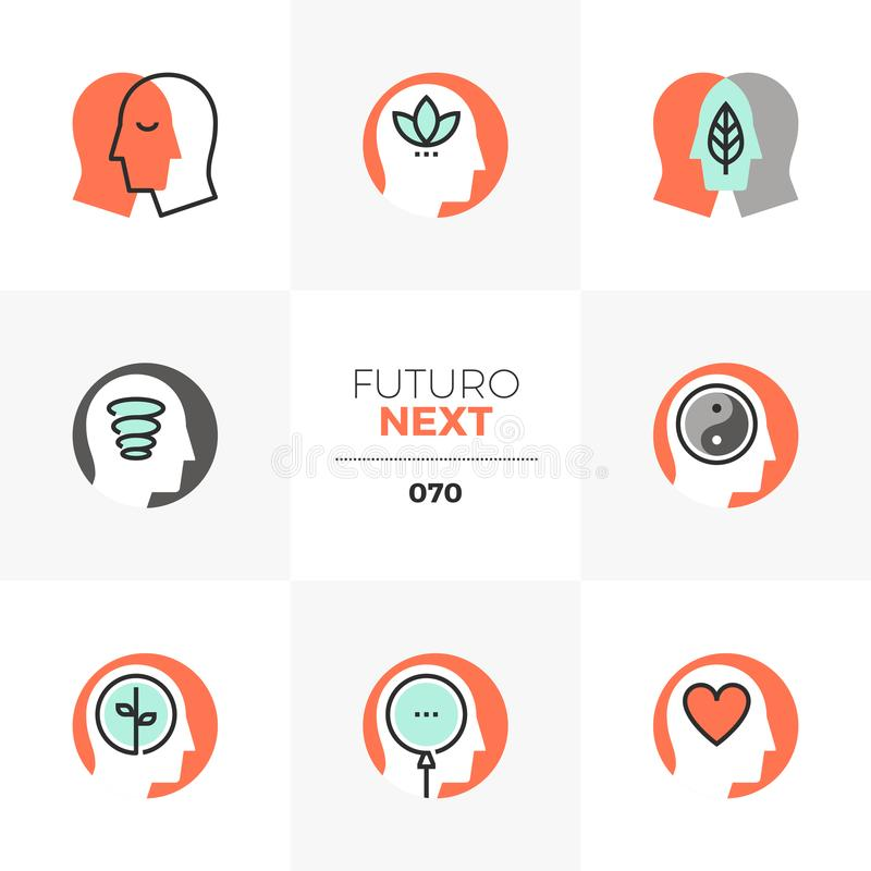 Mindfulness Futuro Next Icons. Modern flat icons set of mindfulness training, meditation practice. Unique color flat graphics elements with stroke lines. Premium royalty free illustration