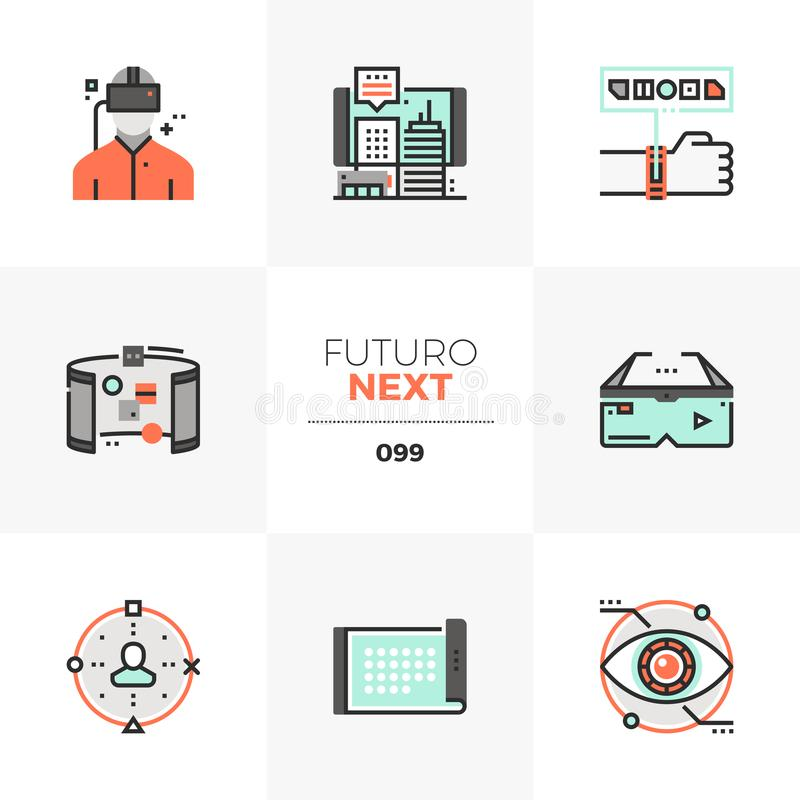 Virtual Reality Futuro Next Icons. Modern flat icons set of virtual reality headset, future technology. Unique color flat graphics elements with stroke lines stock illustration