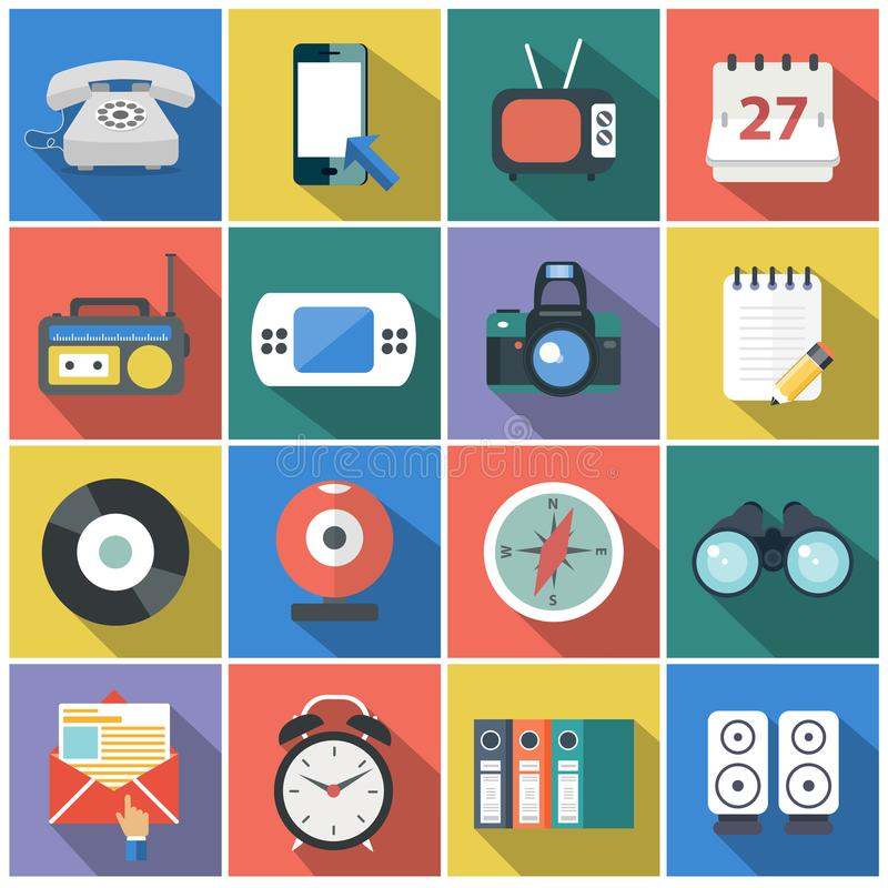 Modern flat icons vector collection with long shadow effect in stylish colors of web design objects, business, office. And marketing items stock illustration