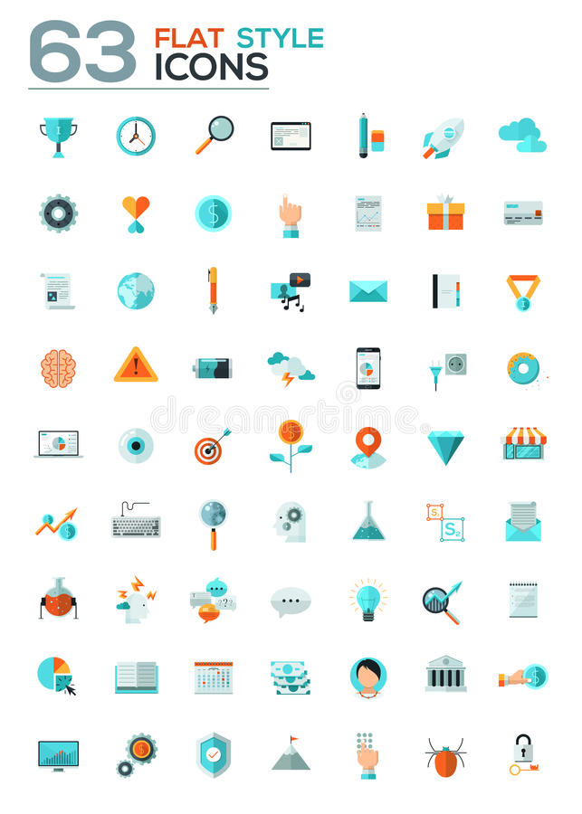 Modern flat icons vector collection with long shadow effect royalty free illustration