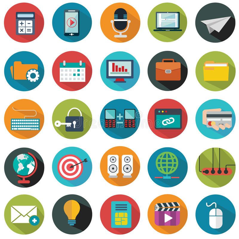 Modern flat icons vector collection with long shadow effect in stylish colors of web design objects, business, office vector illustration