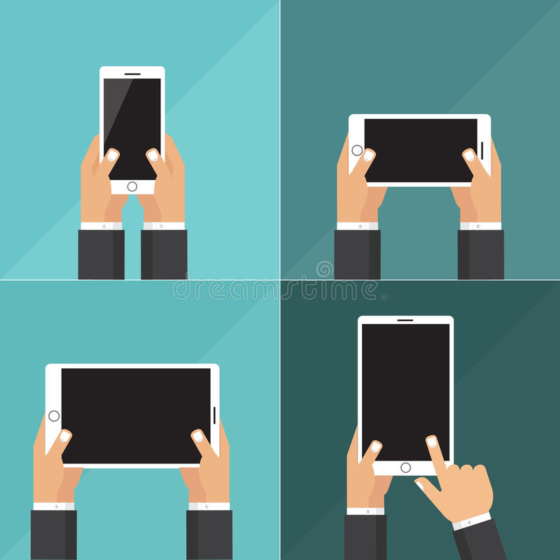 Modern flat icons vector collection of mobile phone and digital tablet using with hand holding screen symbol. royalty free stock photo