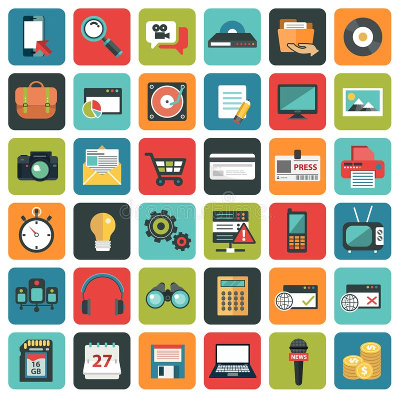 Modern flat icons vector collection in stylish colors of web design. Objects stock illustration