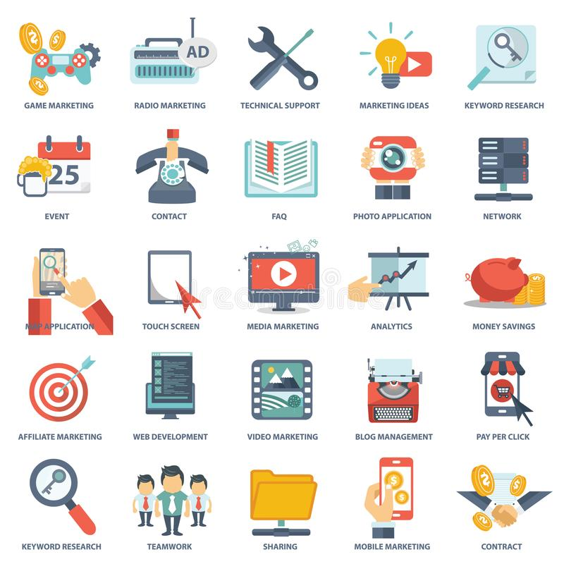 Modern flat icons vector collection in stylish colors of web design objects, business, office and marketing items. royalty free illustration