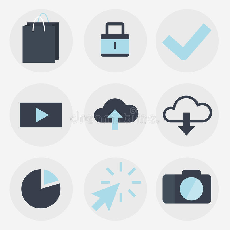 Modern flat icons vector collection, web design objects, business, finance, office and marketing items. royalty free illustration