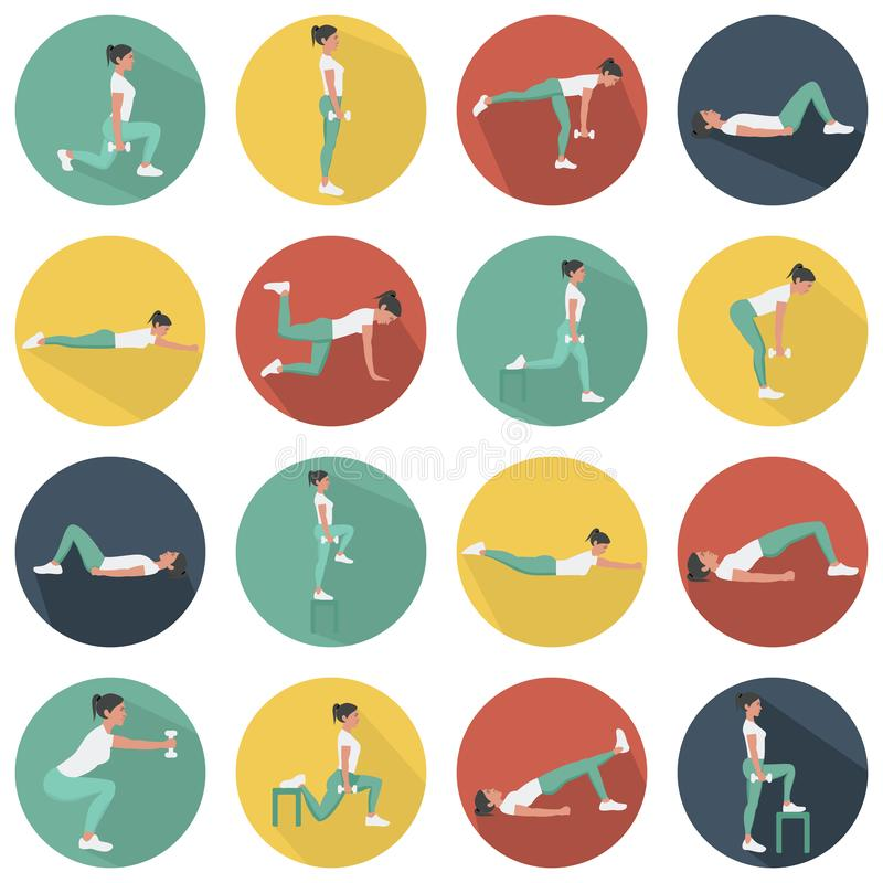 Modern flat icons vector set with long shadow effect in stylish colors of glute exercises and workouts. Circle vector icons of glu. Modern flat icons vector set vector illustration