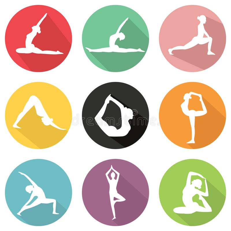 Modern flat icons vector set with long shadow effect in stylish colors of yoga poses vector illustration