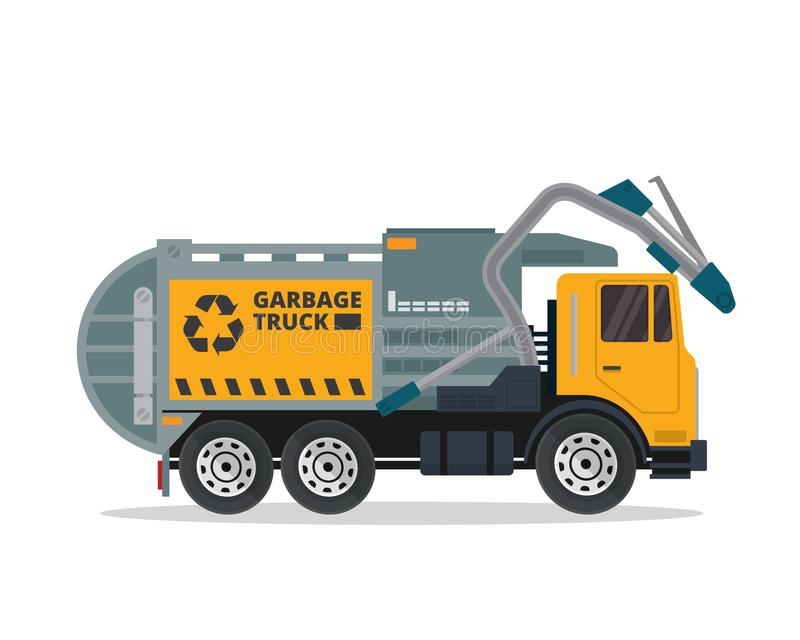 Modern Flat Isolated Industrial Garbage Truck Illustration royalty free illustration