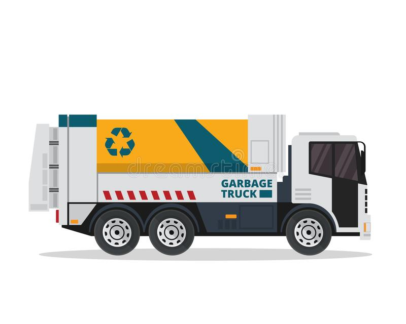 Modern Flat Isolated Industrial Garbage Truck Illustration stock illustration