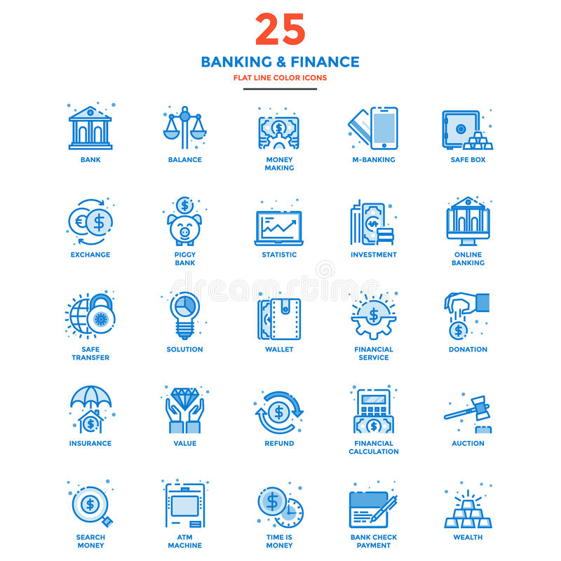 Modern Flat Line Color Icons- Banking and Finance. Set of Modern Flat Line icon Concept of Banking and Finance, Investment, Value, Online Banking, etc. use in royalty free illustration