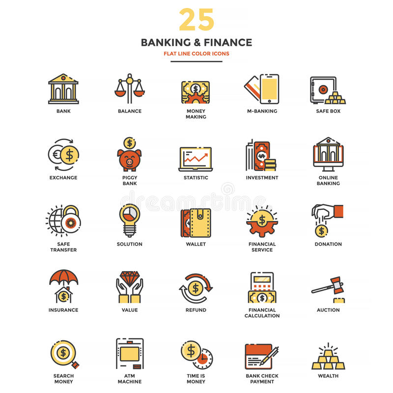 Modern Flat Line Color Icons- Banking and Finance. Set of Modern Flat Line icon Concept of Banking and Finance, Investment, Value, Online Banking, etc. use in stock illustration