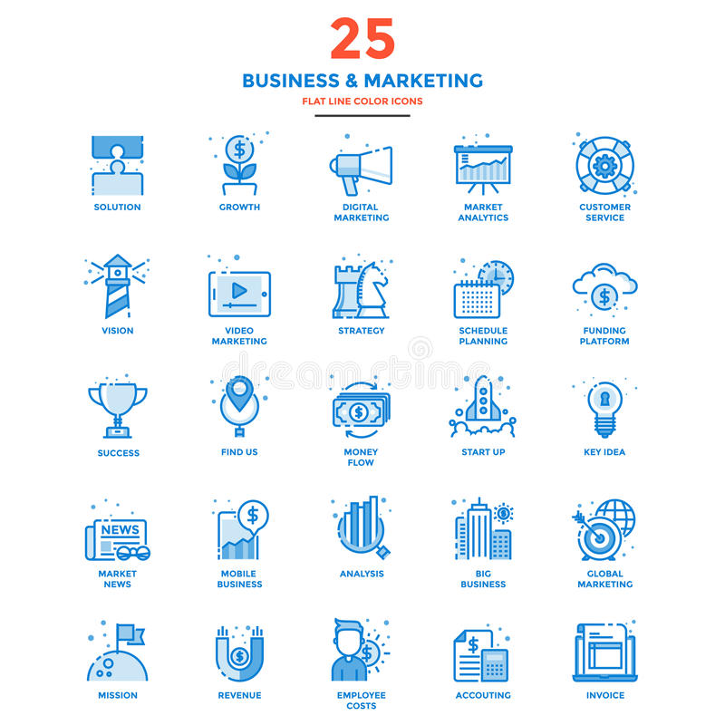 Modern Flat Line Color Icons- Business and Marketing stock illustration