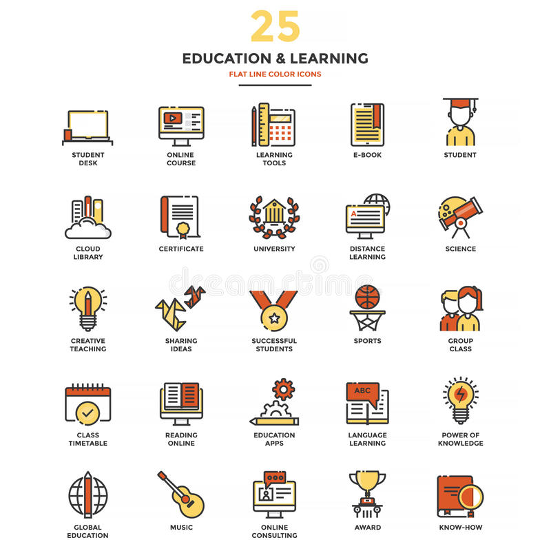 Modern Flat Line Color Icons- Education and Learning. Set of Modern Flat Line icon Concept of Education, Leaning, Online Education, Video Tutorial, E-Learning royalty free illustration